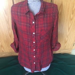 Kenneth Cole Reaction red plaid button down top
